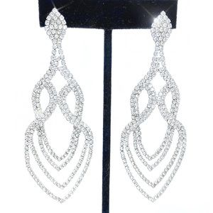 """Prom Pageant Bridal Jewelry - 3.5"""" Rhinestone Earrings Prom Pageant Bridal Event"""